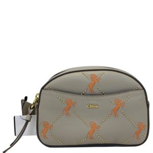 CHLOE EMBROIDERED LITTLE HORSES LEATHER BELT